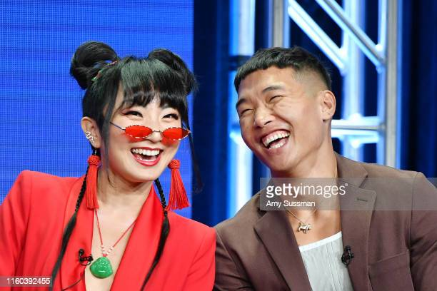 Poppy Liu and Joel Kim Booster of Sunnyside speak during the NBC segment of the 2019 Summer TCA Press Tour at The Beverly Hilton Hotel on August 8...