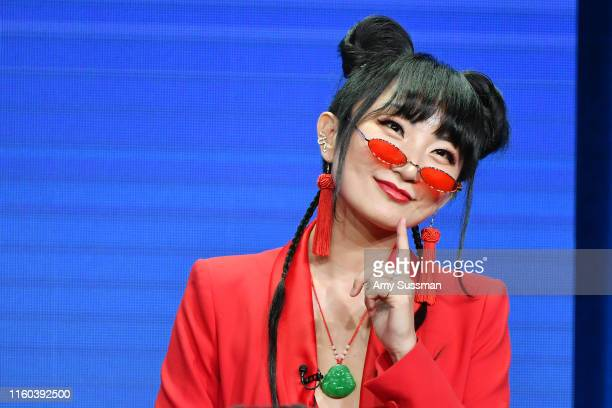 Poppy Liu of Sunnyside speaks during the NBC segment of the 2019 Summer TCA Press Tour at The Beverly Hilton Hotel on August 8 2019 in Beverly Hills...