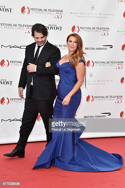 Poppy Montgomery and husband Shawn Sanford arrive to attend the opening ceremony of the 55th Monte Carlo TV Festival on June 13 2015 in MonteCarlo...