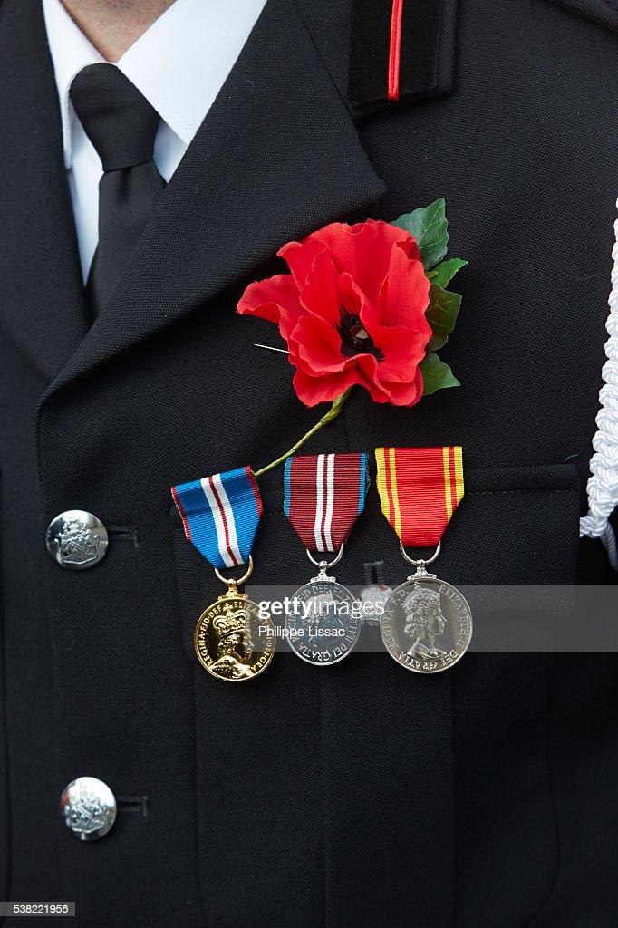Poppy parade in Ypres on Armistice day : Stock Photo