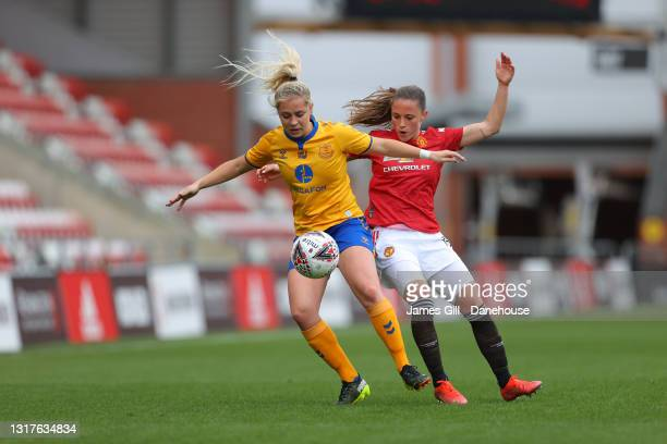 Poppy Pattinson of Everton Women holds off a challenge from Ona Batlle of Manchester United Women during the Barclays FA Women's Super League match...