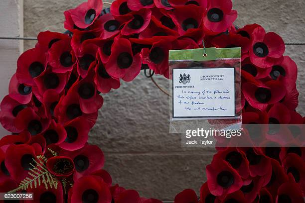 A poppy wreath and message from Prime Minister Theresa May is pictured on the Cenotaph on Whitehall following the annual Remembrance Sunday Service...