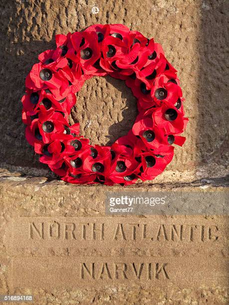 Poppy Wreath at the War Memorial at Stonehaven, Scotland