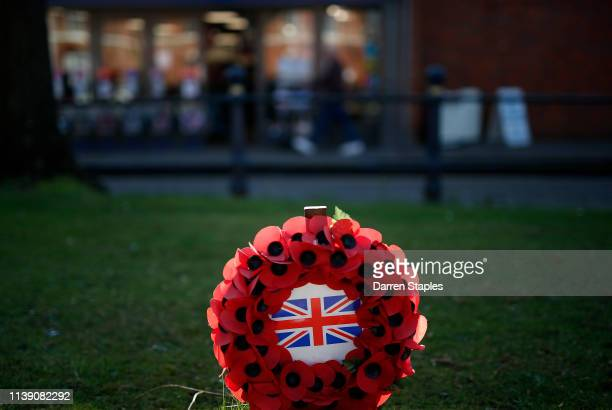 A poppy wreath stands by a war memorial on March 29 2019 in Boston England The town of Boston in Lincolnshire voted with a 75% majority to leave the...