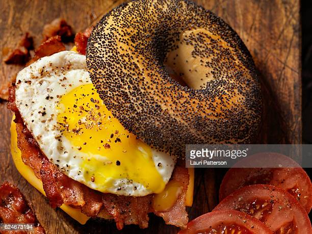 Poppyseed Bagel Sandwich with A Fried Egg, Bacon and Cheese