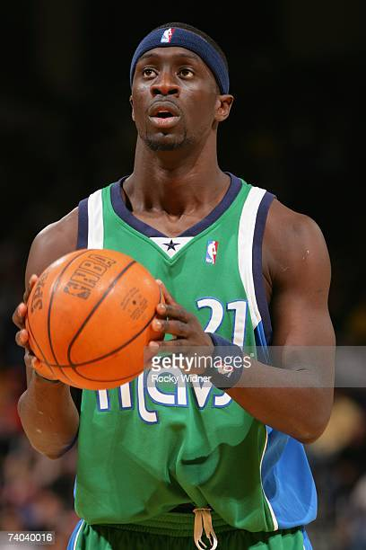 Pops MensahBonsu of the Dallas Mavericks holds the ball during the game against the Golden State Warriors at Oracle Arena on April 17 2007 in Oakland...