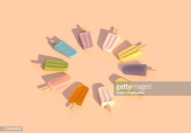 popsicle circle pattern - sorbet stock pictures, royalty-free photos & images