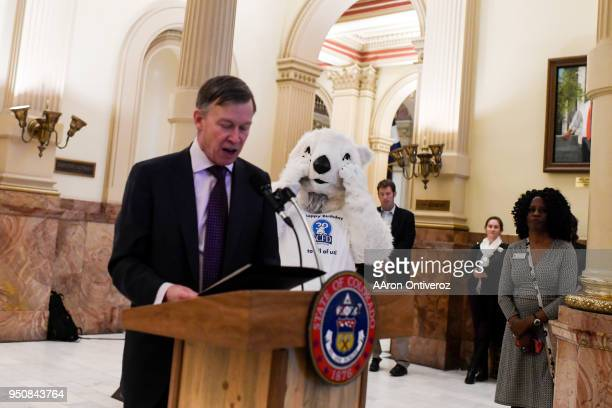 Popsicle the Polar Bear reacts as Colorado Gov John Hickenlooper proclaims April 24 as the 30year anniversary for the Scientific Cultural Facilities...