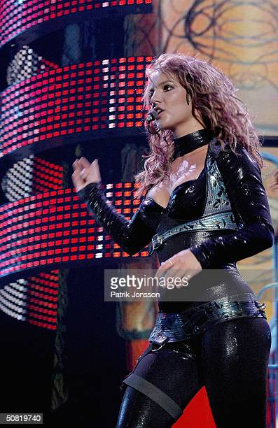 Popstar Britney Spears performs on stage during her 2004 'Onyx Hotel Tour' on May 9 2004 at The Forum in Copenhagen Denmark