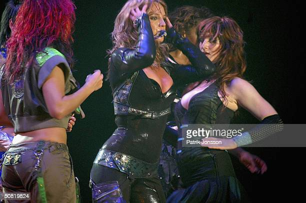 """Popstar Britney Spears performs on stage during her 2004 """"Onyx Hotel Tour"""" on May 9, 2004 at The Forum, in Copenhagen, Denmark."""