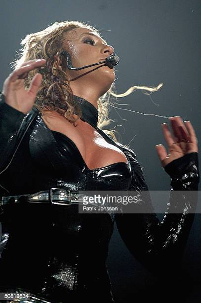 Popstar Britney Spears performs on stage during her 2004 Onyx Hotel Tour on May 9 2004 at The Forum in Copenhagen Denmark