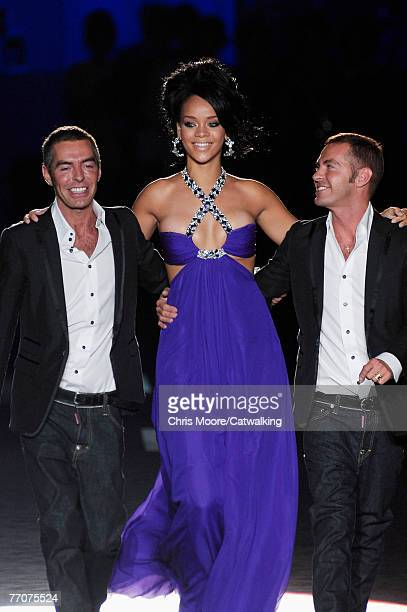 Popstar/R&B artist Rihanna with Canadian identical-twin designers Dean and Dan Caten walk down the catwalk during the Dsquared2 Spring/ Summer 2008...