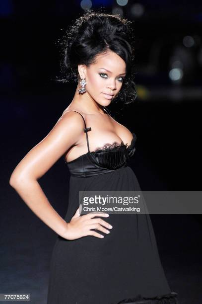 Popstar/R&B singer Rihanna walks down the catwalk during the Dsquared2 Spring/ Summer 2008 collection part of Milan Fashion Week on September 27,...