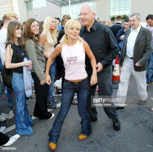 Popstars The Rivals judges from left to right Geri Halliwell Pete Waterman and Louis Walsh pose for photographers outside the Lowry Hotel in...