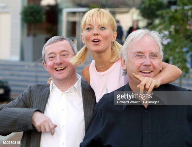 Popstars The Rivals judges from left to right Louis Walsh Geri Halliwell and Pete Waterman pose for photographers outside the Lowry Hotel in...