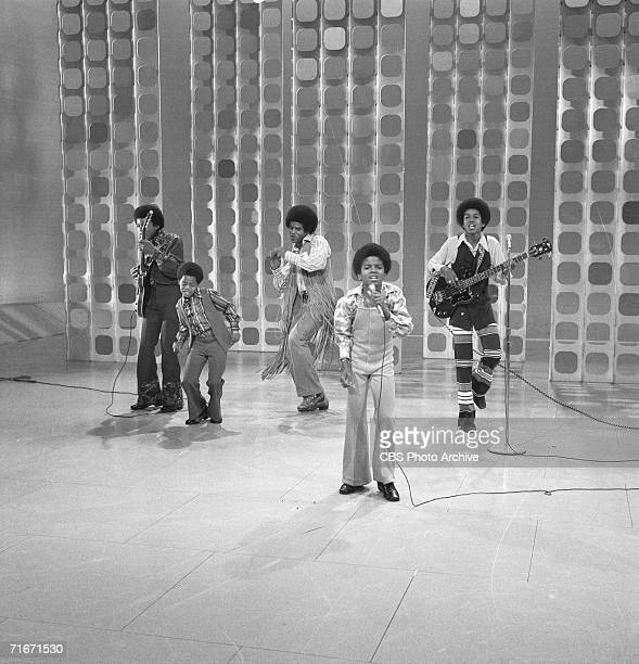 Popular American musical group the Jackson Five perform on 'The Ed Sullivan Show,' New York, New York, May 10, 1970. Pictured are, from left, Tito...