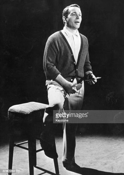 Popular American singer and television personality Perry Como on stage.