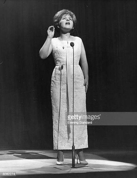 Popular American singer Brenda Lee performing on stage