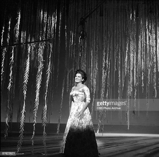 Popular American singer Connie Francis performs on Ed Sullivan's CBS variety show 'Toast of the Town' New York December 3 1961