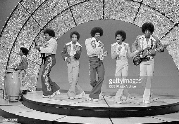 Popular American singing group The Jackson Five perform on an episode of 'The Sonny and Cher Comedy Hour,' January 18, 1973. Pictured are, from left,...