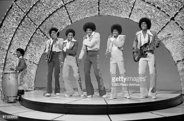 Popular American singing group The Jackson Five perform on an episode of 'The Sonny and Cher Comedy Hour' January 18 1973 Pictured are from left...