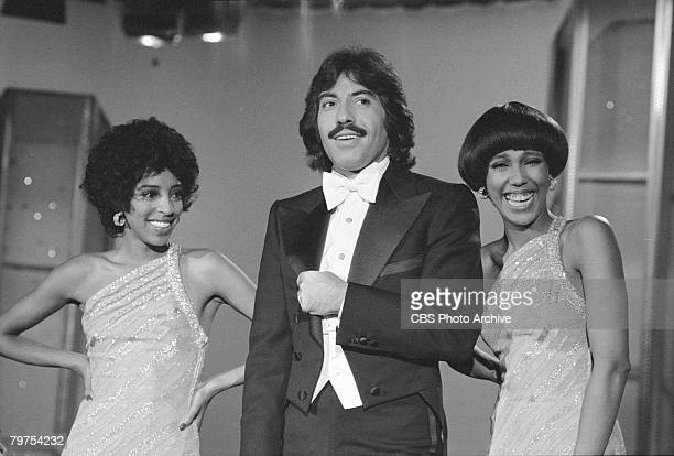Popular American vocal group Tony Orlando and Dawn share a laugh on an episode of their television variety show 'The Tony Orlando and Dawn Rainbow...