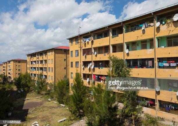Popular and middle class new apartments blocks with satellite dishes Addis Ababa Region Addis Ababa Ethiopia on November 30 2019 in Addis Ababa...