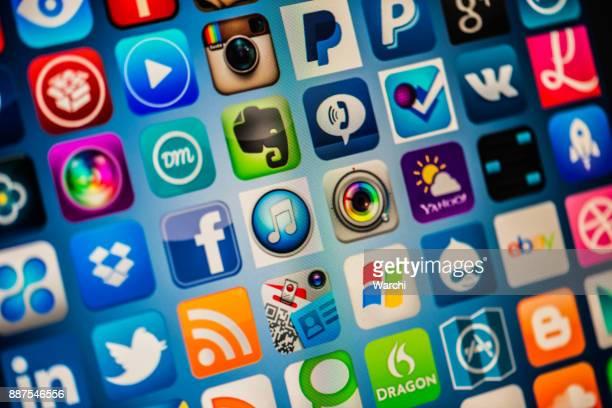 Populaires app icônes sur l'écran