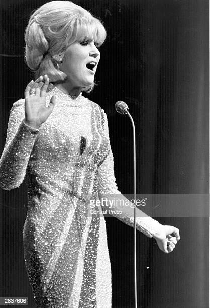 Popular British singer Dusty Springfield performing in the Royal Variety Show at the London Palladium