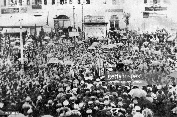 A popular demonstration in Erivan Square Tiflis Russia During the Russian revolution February 1917