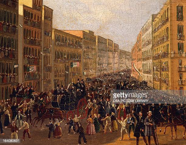 Popular demonstration in Piazza San Ferdinando in Naples for the Constitution Italy 19th century