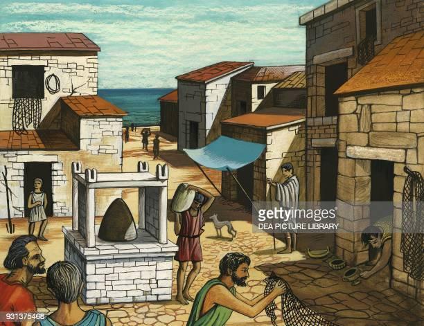 Popular district at the Piraeus Greece drawing Greek civilization 5th century BC