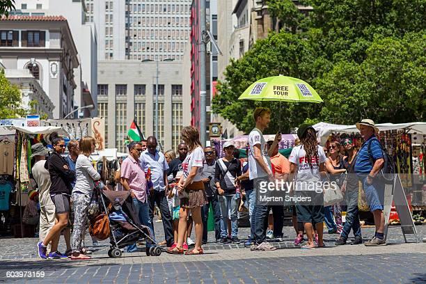 Popular free walking tour gathering on square
