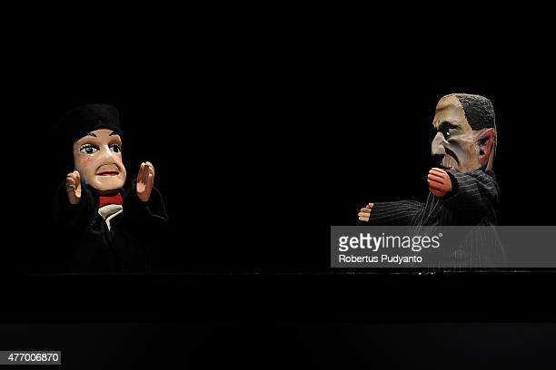 Popular French puppet character Guignol performs during Indonesia and France puppet show collaboration titled Guignol Meets Punakawan at Cak Durasim...