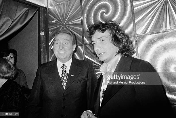 Popular French singer Michel Sardou is greeted by composer Charles Trenet backstage at the Olympia in Paris Sardou was joined by many of his...