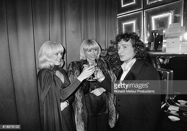 Popular French singer Michel Sardou is joined backstage at the Olympia by his fiancee Babette and actress Mireille Darc. Sardou was joined by many of...