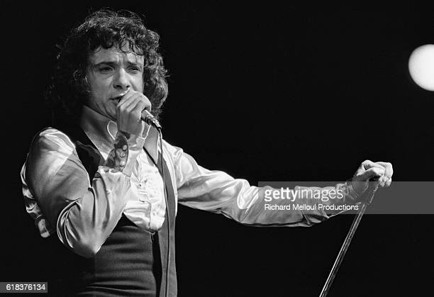 Popular French singer Michel Sardou performs on stage at the Olympia in Paris during the opening night of his fiveweek run in 197475