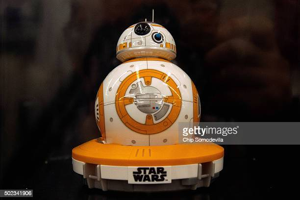 A popular holiday toy this year is the BB8 AppEnabled Droid by Sphero shown here at the Bed Bath and Beyond retail store December 23 2015 in...
