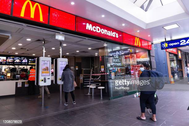 Popular McDonalds location across Flinders Street Station is seen empty during peak hour as the coronavirus continues to rapidly spread in Melbourne,...