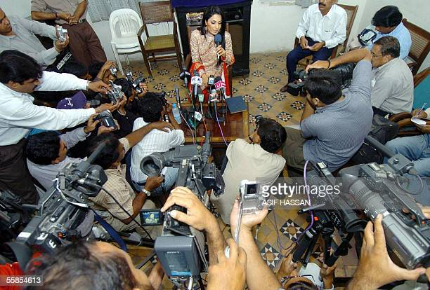 Popular Pakistani actress Meera is surrounded by media representatives during a press conference in Karachi 05 October 2005 Meera whose life was...
