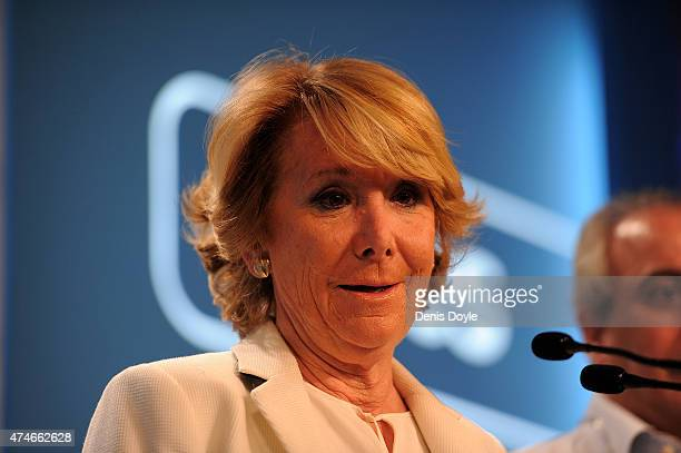Popular Party candidate for Mayor of Madrid Esperanza Aguirre speaks at news conference at party headquarters on May 24 2015 in Madrid Spain...