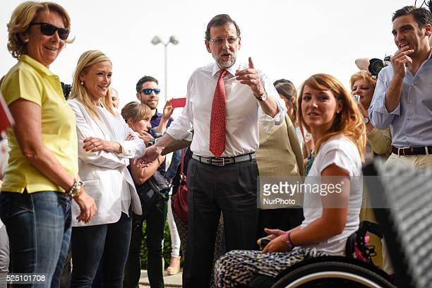 Popular Party leader Mariano Rajoy supports his candidates for Madrid Esperanza Aguirre and Cristina Cifuentes in Madrid on May 5 2015