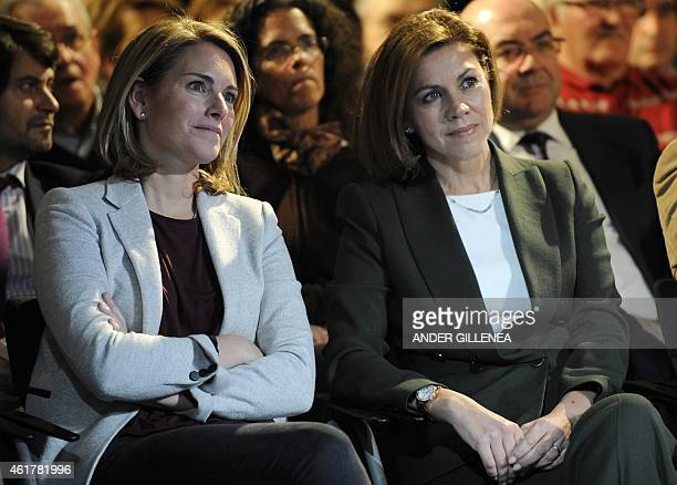 Popular Party 's General Secretary Maria Dolores de Cospedal and Basque Popular Party's President Arantza Quiroga attend a meeting to pay tribute to...