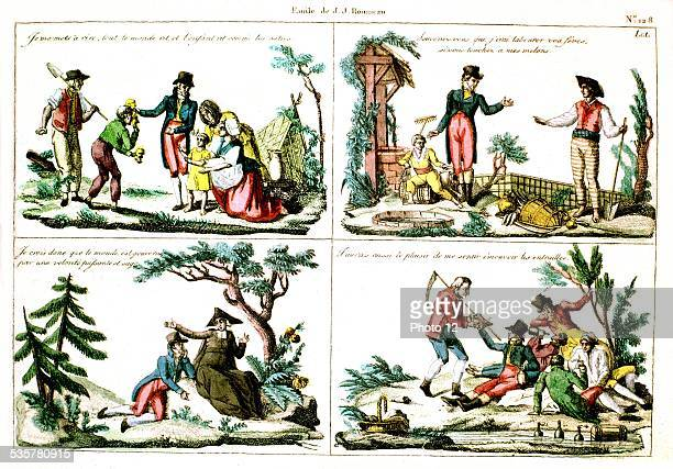 Popular print 'Emile' by JeanJacques Rousseau 18th century France