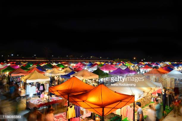 popular railway night market in bangkok 2 may 2016,thailand - market stall stock pictures, royalty-free photos & images