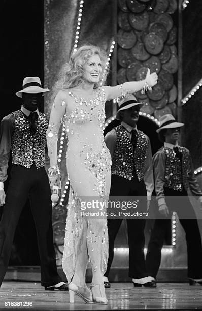 Popular singer Dalida rehearses her show that will be held at the Palais des Sports in Paris