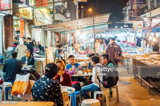 A popular street food market in Hong Kong