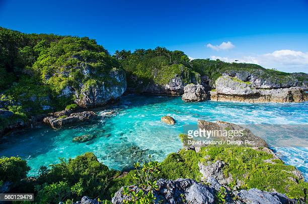 a popular swimming spot on niue island - niue island stock photos and pictures
