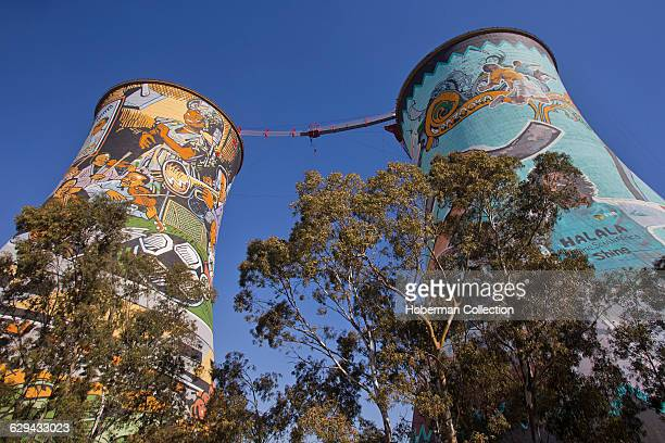 Popular tourist attraction in Soweto, bungee jumping from the Orlando Cooling Towers.