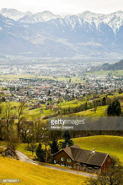 populated valley before vaduz - vaduz stock pictures, royalty-free photos & images
